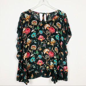 Tolani | Silk Floral Sleeveless Ruffle Top